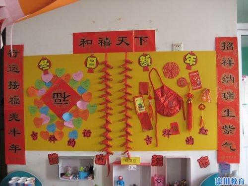 大班元旦主题墙布置幼儿园环境布置元旦幼儿园迎新年